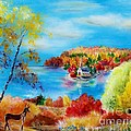 Deer And Country Church Autumn Scene by Melanie Palmer