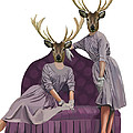 Deer Twins In Purple by Kelly McLaughlan