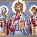 Deisis Jesus Christ St Anastasios And St Eleftherios by Julia Bridget Hayes