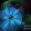 Delicate Blue Flower-Fractal Art Print by Karin Kuhlmann