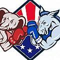 Democrat Donkey Republican Elephant Mascot Boxing by Aloysius Patrimonio