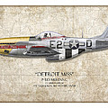 Detroit Miss P-51d Mustang - Map Background by Craig Tinder