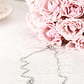 Diamond Necklace And Pink Roses by Stephanie Frey