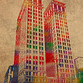 Dime Building Iconic Buildings of Detroit Watercolor on Worn Canvas Series Number 1 Print by Design Turnpike