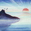 Distant Shoreline Sunrise Watercolor Painting by Michelle Wiarda