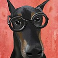 Doberman With Glasses by Loopylolly