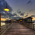 Dock lights at Jekyll Island Print by Debra and Dave Vanderlaan