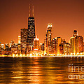 Downtown Chicago at Night with Chicago Skyline Print by Paul Velgos