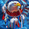 Dream Catcher - Eagle Red White Blue by Carol Cavalaris
