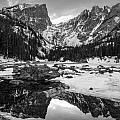 Dream Lake Reflection Black And White by Aaron Spong
