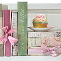 Dreamy Romantic Pastel Shabby Chic Cottage Chic Books With Pink Cupcake - Food Photography by Kathy Fornal