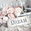 Dreamy Shabby Chic Romantic Cottage Chic Roses In White Basket  by Kathy Fornal
