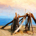 Driftwood Sculpture at Rincon Print by Ron Regalado