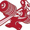 Dumbbell Anvil And Sledgehammer Retro by Aloysius Patrimonio