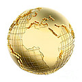 Earth In Gold Metal Isolated - Africa by Johan Swanepoel