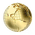 Earth In Gold Metal Isolated On White by Johan Swanepoel