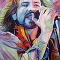 Eddie Vedder In Pink And Blue by Joshua Morton