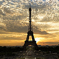 Eiffel Tower At Sunset by Debra and Dave Vanderlaan