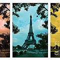 Eiffel Tower Paris France Trio by Patricia Awapara