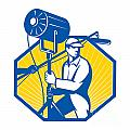 Electrical Lighting Technician Crew Spotlight Print by Aloysius Patrimonio