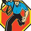 Electrician Worker Running Electrical Plug by Aloysius Patrimonio