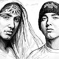 Eminem Art Drawing Sketch Poster by Kim Wang