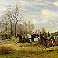 Emperor Franz Joseph I Of Austria Hunting To Hounds With The Countess Larisch In Silesia by Emil Adam