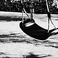 Empty Plastic Swing Swinging In A Garden In The Evening by Joe Fox