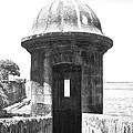 Entrance To Sentry Tower Castillo San Felipe Del Morro Fortress San Juan Puerto Rico Bw Film Grain by Shawn O'Brien
