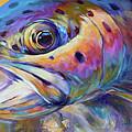 Face Of A Rainbow- Rainbow Trout Portrait by Savlen Art