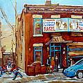 Fairmount Bagel In Winter Montreal City Scene by Carole Spandau