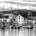 Farsund Dock Scene Pen And Ink by Janet King