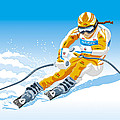 Female Downhill Skier Winter Sport Print by Frank Ramspott