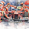 Ferrari F 2012 Fernando Alonso Pit Stop Print by Yuriy  Shevchuk