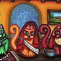 Fiesta Cats Or Gatos De Santa Fe by Victoria De Almeida