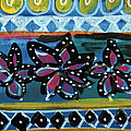 Fiesta In Blues- Abstract Pattern Painting by Linda Woods