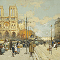 Figures On A Sunny Parisian Street Notre Dame At Left by Eugene Galien-Laloue