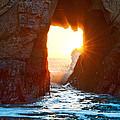 Fireburst - Arch Rock in Pfeiffer Beach in Big Sur. Print by Jamie Pham