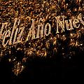 Fireworks Feliz Ano Nuevo In Elegant Gold And Black by Marianne Campolongo