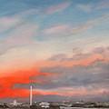 First Inaugural Sunrise From Iwo Jima Memorial by William Van Doren