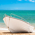 Fishing Boat On The Beach Algarve Portugal by Amanda And Christopher Elwell