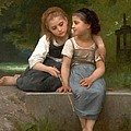 Fishing For Frogs Watercolor Version by William Bouguereau