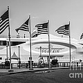 Five Us Flags Flying Proudly In Front Of The Megayacht Seafair - Miami - Florida - Black And White by Ian Monk