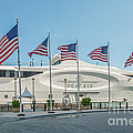 Five US Flags flying proudly in front of the megayacht Seafair - Miami - Florida Print by Ian Monk