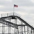 Flag Mounted On Seaside Heights Roller Coaster by Melinda Saminski