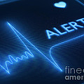 Flat line alert on heart monitor Print by Johan Swanepoel