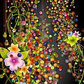 Floating Fragrances - Black Version Print by Bedros Awak