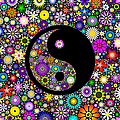 Floral Yin Yang Print by Tim Gainey