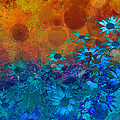 Flower Fantasy In Blue And Orange  by Ann Powell