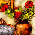 Flower - Geraniums On A Table  by Mike Savad